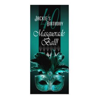 Jackie UK Teal Black Masquerade 40th Birthday 10 Cm X 24 Cm Invitation Card