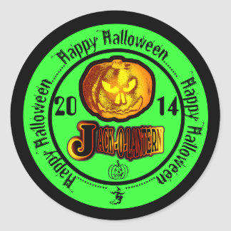 JackOLantern Happy Halloween 2014 Green 2 Round Stickers