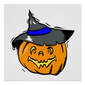 Jackolantern in witches hat posters