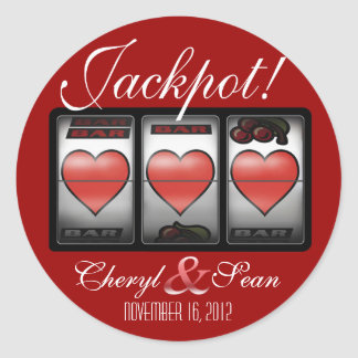 Jackpot Hearts We're Doing It In Vegas (Large) Round Sticker
