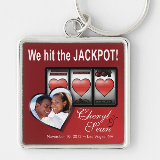 Jackpot Hearts We're Doing It In Vegas Photo Silver-Colored Square Key Ring