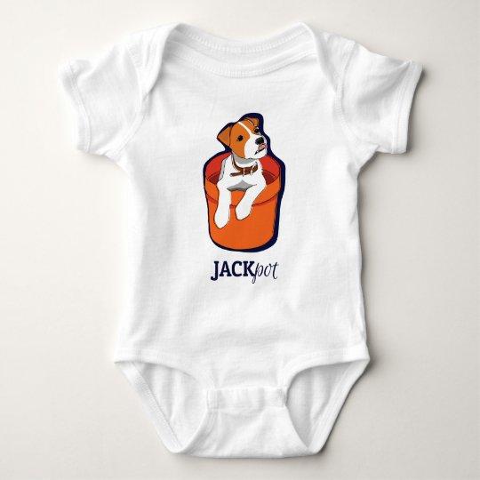 """Jackpot"" Jack Russell Terrier Apperal Baby Bodysuit"