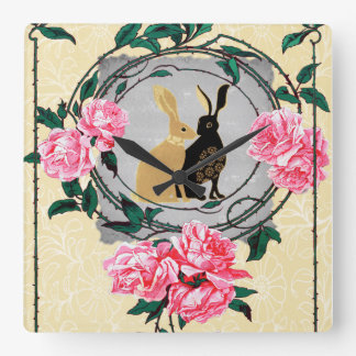 Jackrabbit Hares Roses Romantic Spring Collage Wall Clocks