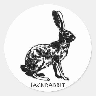 Jackrabbit Illustration Round Sticker