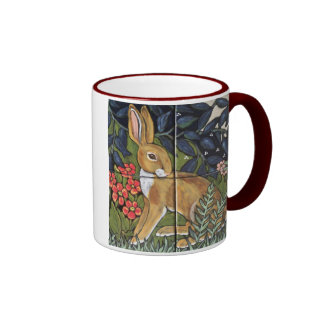 Jackrabbit in Flower Garden, Tile Design Mug