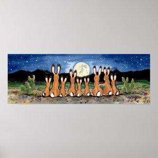 Jackrabbit Rabbit Family Desert Moon Night Poster