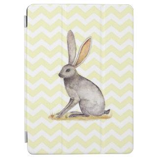 Jackrabbit watercolor painting on chevron pattern iPad air cover