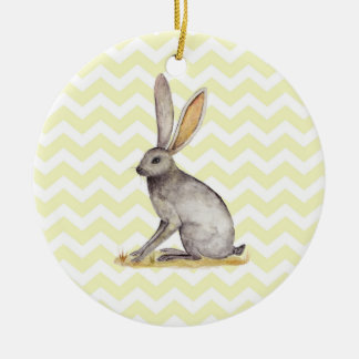 Jackrabbit watercolor painting on chevron pattern round ceramic decoration