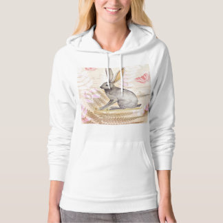 Jackrabbit watercolor vintage collage background hooded pullovers