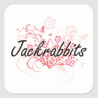 Jackrabbits with flowers background square sticker