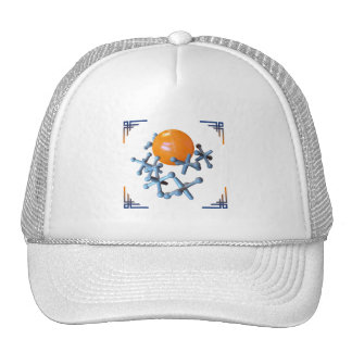Jacks and Ball Hat Orange and Navy Blue Design