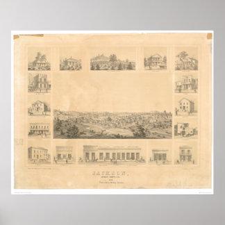 Jackson, CA. Panoramic Map 1857 (0766A) Poster