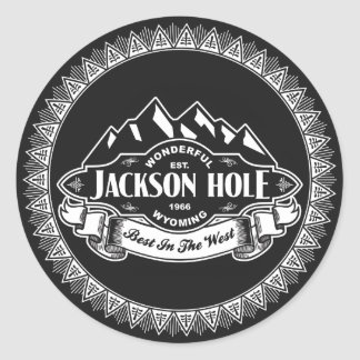 Jackson Hole Mountain Emblem Classic Round Sticker