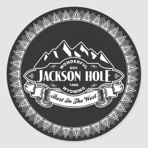 Jackson Hole Mountain Emblem Round Stickers