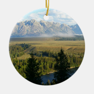 Jackson Hole Mountains and River Christmas Ornament