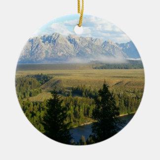 Jackson Hole Mountains and River Round Ceramic Decoration