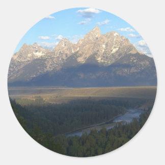 Jackson Hole Mountains Scenic Landscape Round Sticker