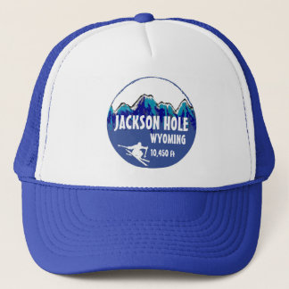 Jackson Hole Wyoming blue ski art hat