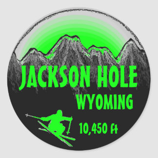 Jackson Hole Wyoming green ski art stickers
