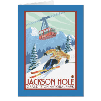 Jackson Hole, Wyoming Skier and Tram Card