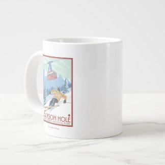 Jackson Hole, Wyoming Skier and Tram Large Coffee Mug