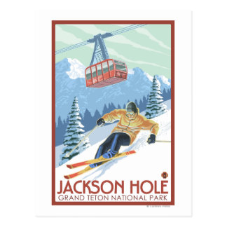 Jackson Hole, Wyoming Skier and Tram Postcard