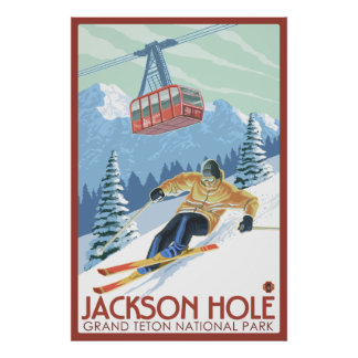 Jackson Hole, Wyoming - Skier and Tram Poster