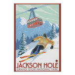 Jackson Hole, Wyoming Skier and Tram Poster