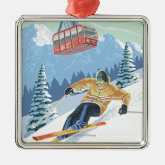 Jackson Hole, Wyoming Skier and Tram Silver-Colored Square Decoration