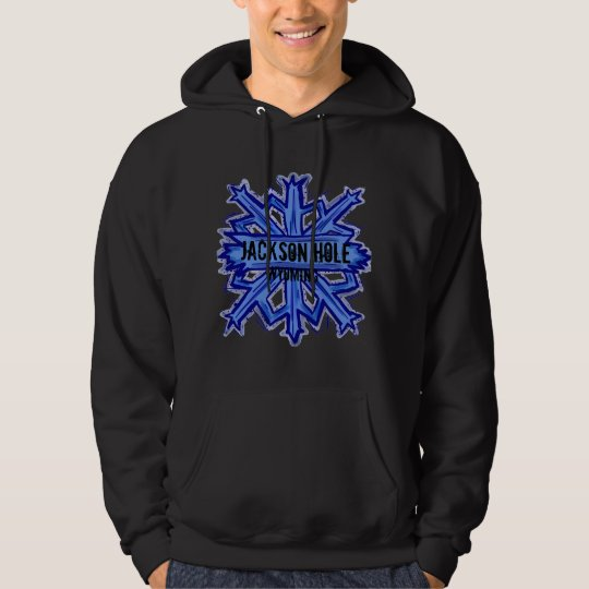 Jackson Hole Wyoming snowflake dark hoodie
