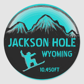 Jackson Hole Wyoming teal snowboard art stickers