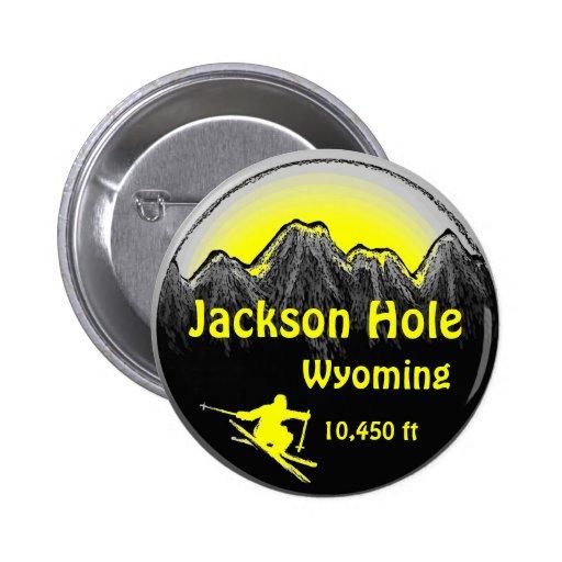 Jackson Hole Wyoming yellow ski art button