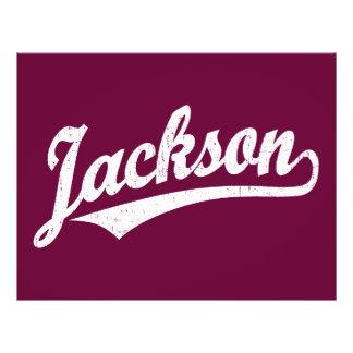Jackson script logo in white distressed 21.5 cm x 28 cm flyer