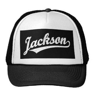 Jackson script logo in white distressed cap
