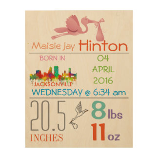 JACKSONVILLE - BABY GIRL ARRIVAL ANNOUNCEMENT WOOD CANVASES
