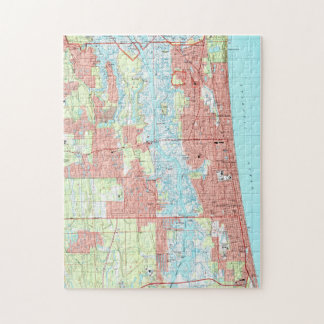 Jacksonville Beach and Atlantic Beach Florida Map Jigsaw Puzzle