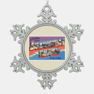 Jacksonville Beach Florida FL Old Travel Souvenir Pewter Snowflake Decoration