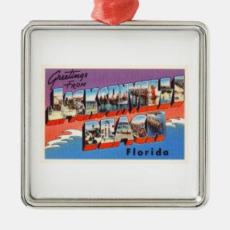 Jacksonville Beach Florida FL Old Travel Souvenir Silver-Colored Square Decoration