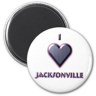 Jacksonville -- Blue with glow 6 Cm Round Magnet