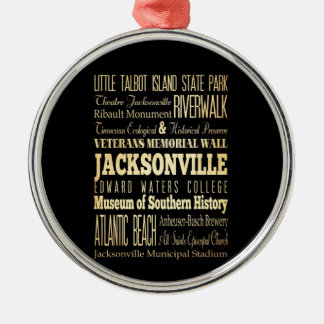 Jacksonville City of Florida State Typography Art Christmas Ornament
