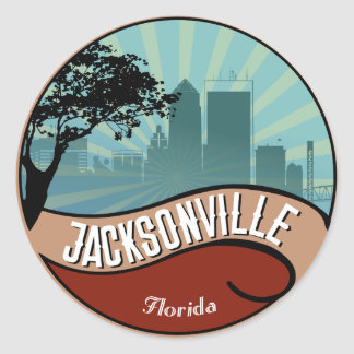 Jacksonville City Skyline Retro Vintage Sticker
