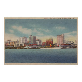 Jacksonville, FL - View of Water Front & Skyline Poster