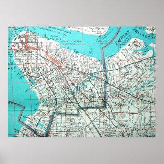 Jacksonville, FL Vintage Map Poster
