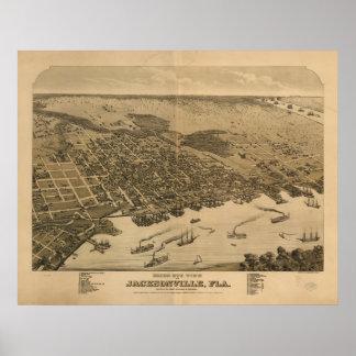 Jacksonville Florida 1876 Antique Panoramic Map Poster