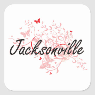 Jacksonville Florida City Artistic design with but Square Sticker