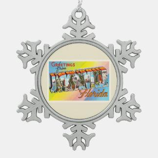 Jacksonville Florida FL Vintage Travel Souvenir Pewter Snowflake Decoration