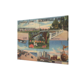 Jacksonville, Florida - Greetings From Canvas Print