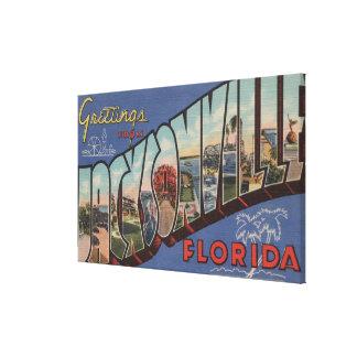 Jacksonville, Florida - Large Letter Scenes Canvas Print