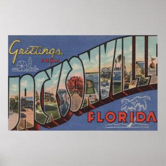 Jacksonville, Florida - Large Letter Scenes Poster