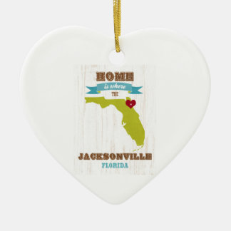 Jacksonville, Florida Map – Home Is Where Ceramic Heart Decoration